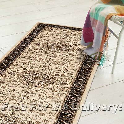 ROSA TRADITIONAL CREAM BLACK CLASSIC FLOOR RUG RUNNER 80x400cm **FREE DELIVERY**
