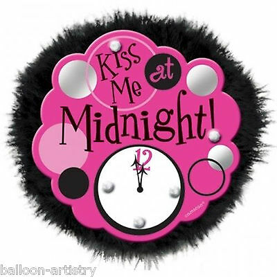 Pink Black Furry New Year Hen Party Kiss Me At Midnight Big Fun Button Badge