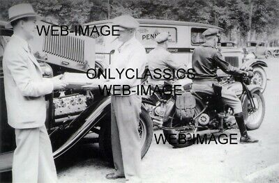 1932 Harley Davidson Motorcycle Police-Pennzoil Truck Ford Flathead 12X18 Photo
