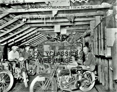 1921 Early Harley Davidson Motorcycle Dealer In Shed Store 11X14 Photo-Cool Guys