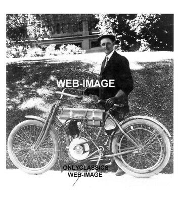 1908 Harley Davidson Walter Manufacturer Vintage Motorcycle Dealer 8X10 Photo