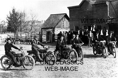 1920 Vintage Harley Davidson-Indian-Excelsior Motorcycle Lineup Photo Loretto Mi