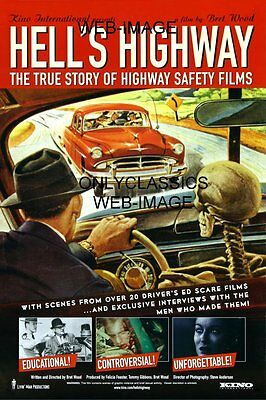 50s HELL'S HIGHWAY MOVIE POSTER DRIVERS ED TRUE STORY SKELETON AUTOMOBILIA NOIR
