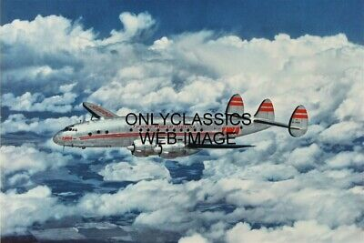 Trans World Airlines Constellation Nc90826 Airplane In Clouds Twa Travel Poster
