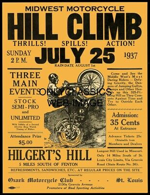 1937 Hill Climb Motorcycle Racing Race Poster Ozark Club St. Louis Mo Daredevils