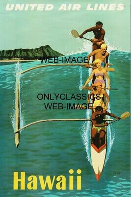 Hawaii United Airlines Travel Poster Hawaiian Vacation Boat Surfing Ocean Wave