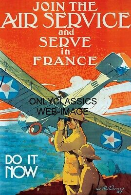 1917 Word War One Join The Air Service -Serve In France Poster Airplane Aviation
