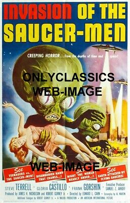 1957 Invasion Of The Saucer Men Science Fiction Pinup Movie Poster Art By Kallis