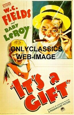 """1934 """"it's A Gift"""" Comedian  W.c. Fields Movie Poster-Cigar-Shaving -Baby Leroy"""