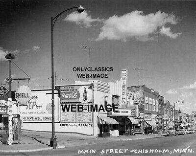 1957 Chisholm Mn Movie Theater Shell Gas Station Coca-Cola Sign 8X10 Photo Cars