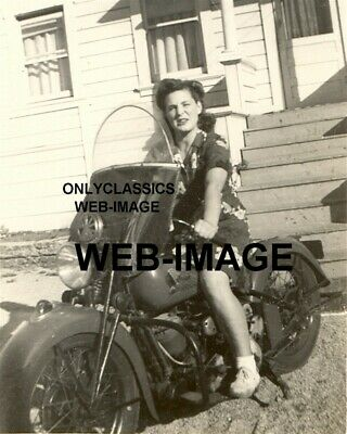 1930's BAD GIRL BIKER IN SHORT SKIRT VINTAGE INDIAN MOTORCYCLE PHOTO WOMAN RIDER
