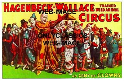 Army Of Clowns Circus Family Vintage 11X17 Poster Art Graphics Amusement Funny