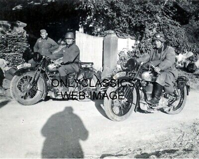 Wwii German Soldier In Uniform Motorcycle Military Photo-License Plate World War