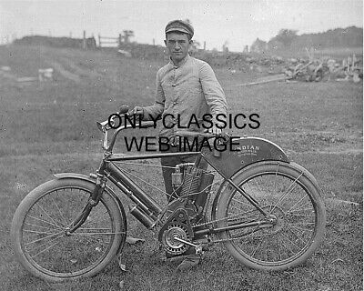 1907 Early Vintage Indian Motorcycle Bicycle Photo Proud Man-Hat-Horn Americana