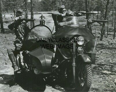 Wwii Harley Davidson Sidecar Military Motorcycle Photo Army Soldiers Guns Drawn