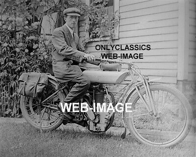 c1910 Vintage Photo Reprint Couple on EXCELSIOR AUTOCYCLE Motorcycle CA