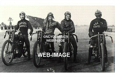 1919 Harley Davidson Motorcycle Racing Ascot Photo Factory Racers Wrecking Crew