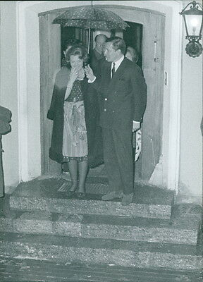 Vintage photo of Princess Beatrix of the Netherlands with a man. -