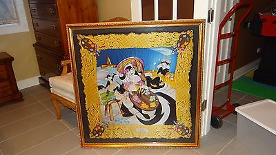 art GOLD framed pepe le pew painting Penelope  LARGE work of art