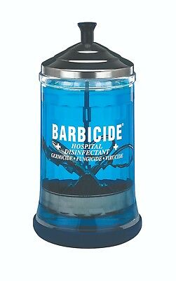 Barbicide Jar Glass Stainless steel lid Manicure Tools Disinfecting Jar Mid Size