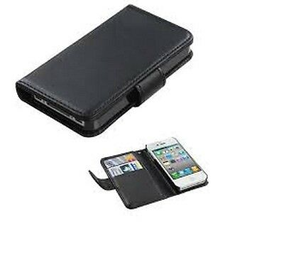 New  Wallet PU Leather Case Cover For Apple iPhone 4S Black