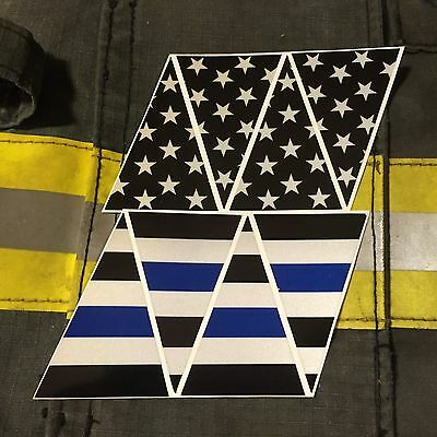 Firefighter Blue Line Black American Flag Fire Helmet Reflective Decal Top 8Part