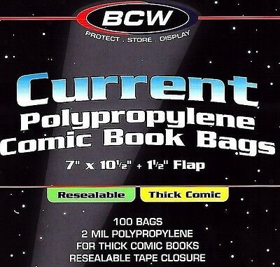 200 Current Resealable Thick Bags and Boards Archival Comic Book Storage