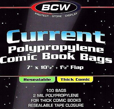 200 Current Resealable Thick Comic Bags and Boards Archival Book Storage