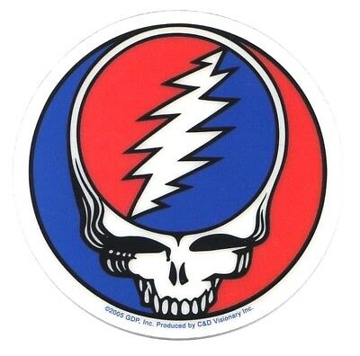 "GRATEFUL DEAD steal your face 3"" STICKER **FREE SHIPPING** -transparent"