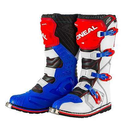 ONeal Rider Adult Mens MX Motocross Off Road Boots Red-Blue-White UK 7