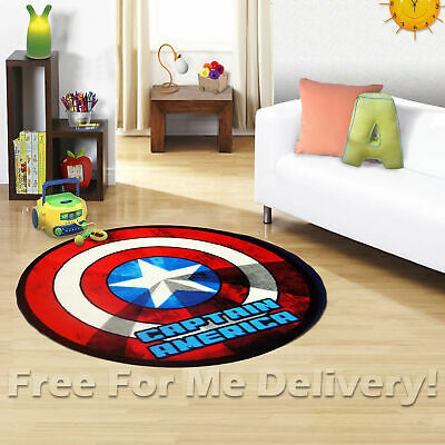 KIDS EXPRESS CAPTAIN AMERICA SHIELD FUN FLOOR RUG (XS) 100x100cm *FREE DELIVERY*