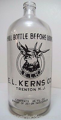 Old E L Kerns Co Elk Bottle Trenton NJ 26oz seltzer Chill Bottle Before Using