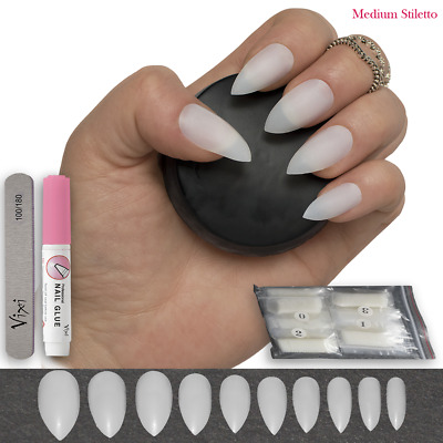 500 POINTED STILETTO FALSE NAILS - Full Cover Natural Opaque Tips FREE GLUE AN52