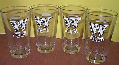 4 WIDMER Brothers Brewing Nucleated Pint Glasses Beer Glass 16 oz.  NEW