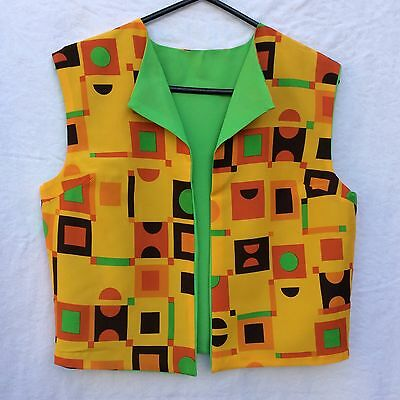 Retro Vintage Vest Top Fabric 60's 70's Mod Size 6-10? Orange Lime Cotton Rayon