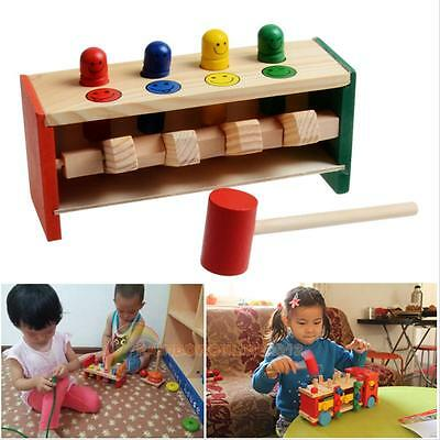 Children Toddlers Educational Toy Pegs Wooden Game Hammering Bench Hammer Gift