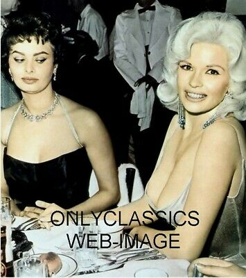 Sexy Actress Sophia Loren & Jayne Mansfield Color Photo Busty Cheesecake Pinup