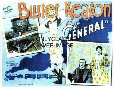 """1927 Buster Keaton """"the General"""" Steam Train Locomotive Movie Lobby Card Poster"""