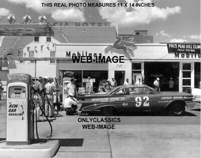 1959 MOBIL GAS STATION AUTO RACING UNSER PONTIAC STOCK CAR NASCAR 11x14 PHOTO