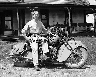 1940 Vintage Indian Motorcycle Service Man Showing Off His Cool New Cycle Photo