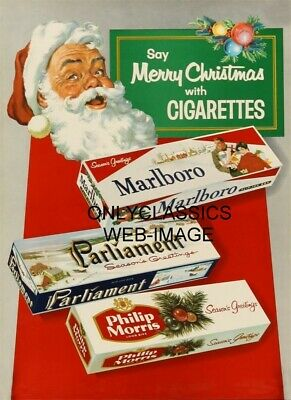 Santa Claus Say's Merry Christmas With Cigarettes Old Vintage Advertising Poster