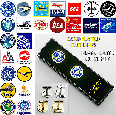 "AIRLINES & AIRCRAFT - Executive ""CUFFLINKS SET"", Gold/Silver Plated, Gift Box"