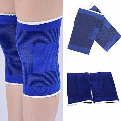New 2 Pcs Brace Elastic Muscle Support Compression Sleeve Sport Pain Relief Blue
