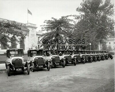 1922 Black And White Taxi Cab Car Fleet Lineup Photo Pan American Union Building