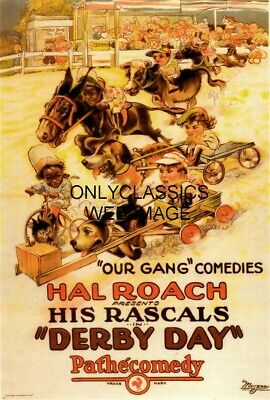 """1923 Hal Roach """"derby Day"""" Our Gang Little Rascals Kids Horse-Dog Racing Poster"""
