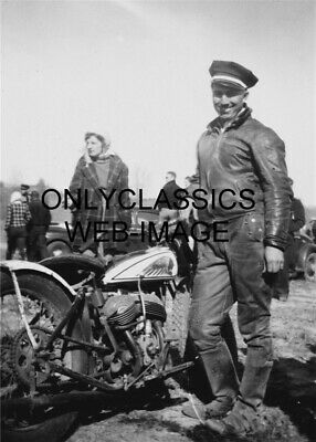 1930's INDIAN V-TWIN MOTORCYCLE RACER MAN LEATHERS PHOTO SMILING COOL TOUGH GUY