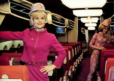 1966 Cute Braniff Babes Stewardess Boeing Airplane Photo Mod Flight Attendant