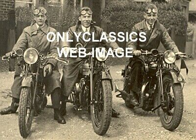 1930's MOTORCYCLE MEN IN GOGGLES ROAD TRIP PHOTO OLD HARLEY DAVIDSON-INDIAN-YALE