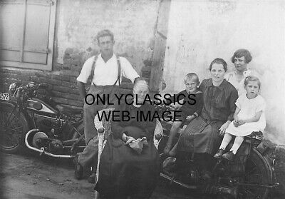 Early Vintage Triumph Motorcycle Photo Proud Family Lounging For Group Picture