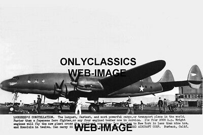 1944 Lockheed Bomber Constellation Airplane Aviation Photo Wwii World War Two